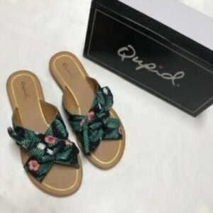 Qupid Tropical Bow X Band Sandals